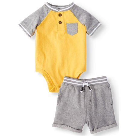 Pocket Henley Bodysuit & French Terry Shorts, 2pc Outfit Set (Baby - French Maids Outfit