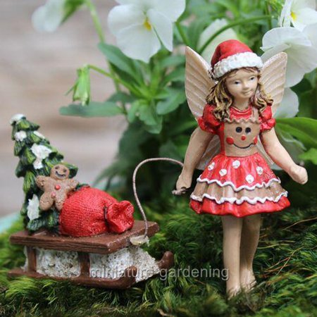 Miniature Sleigh - Miniature Fairy Ginger with Sleigh for Miniature Garden, Fairy Garden
