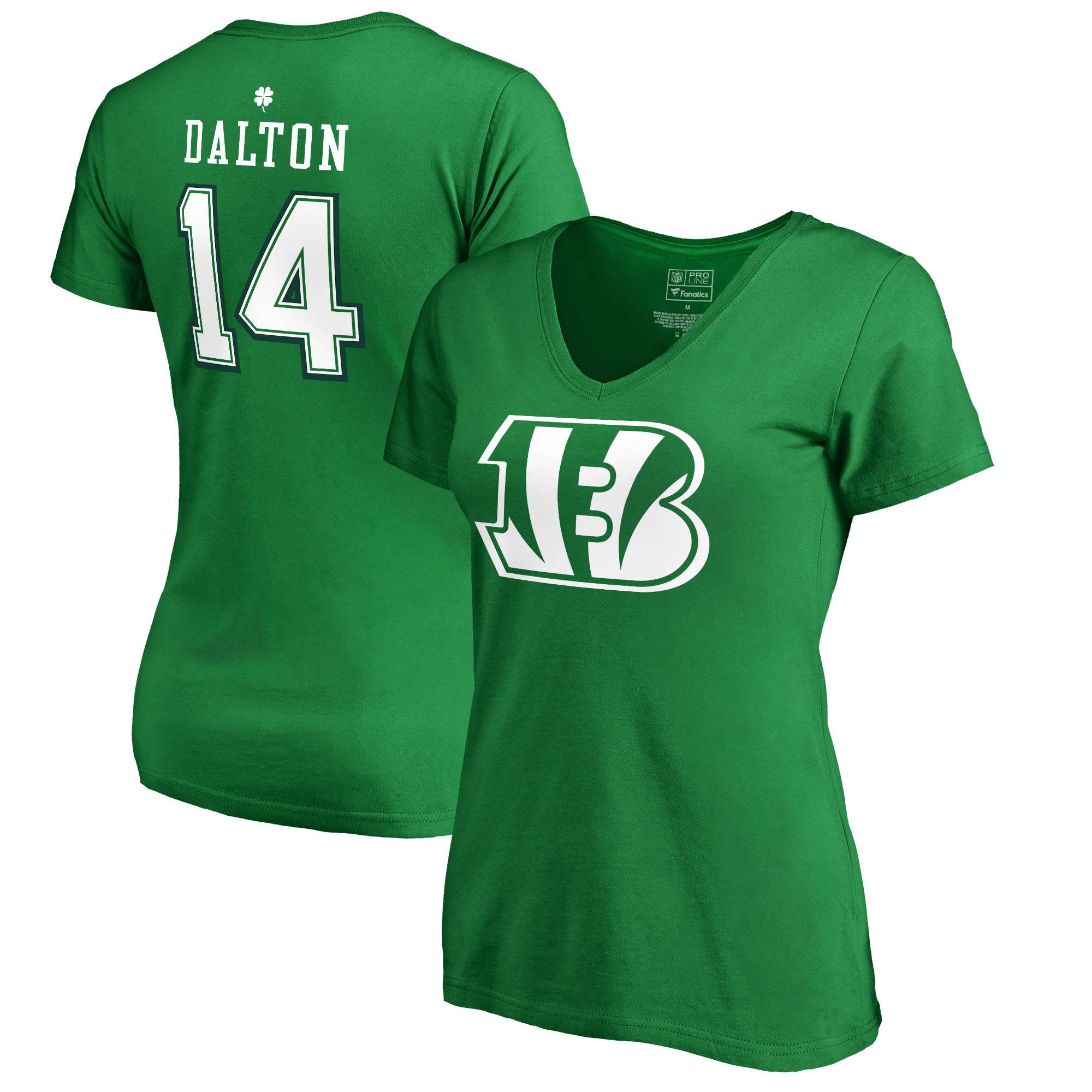 Andy Dalton Cincinnati Bengals NFL Pro Line by Fanatics Branded Women's St. Patrick's Day Icon V-Neck Name & Number T-Shirt - Kelly Green