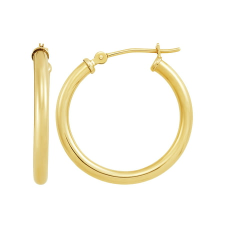 Brilliance Fine Jewelry 10K Lightweight Yellow Gold Round Hoop Earrings