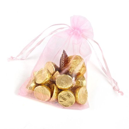 Organza Wedding Party Favor Bags 4x6 Inches Decoration Gift Candy Sheer Pouches - Pink - Pack of 50