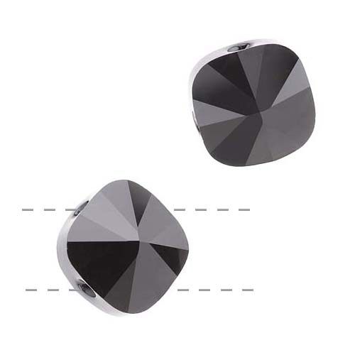 Swarovski Crystal, #5180 Square Double Hole Beads 14mm, 2 Pieces, Jet
