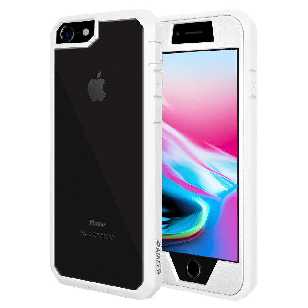 iPhone 8 Full Body Case, ScratchProof Guard Case with Built-in Screen Protector and Reinforced ShockProof Bumper for Apple iPhone 8 - White, Ultra Light, Transparent Back