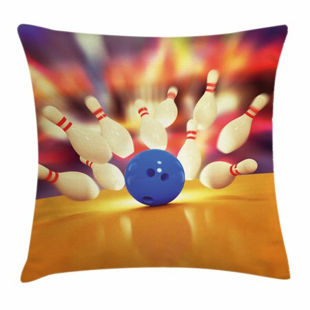 Bowling Party Decorations Throw Pillow Cushion Cover, Spread Skittles Blue Ball on Wooden Floor Moment of Crash Print, Decorative Square Accent Pillow Case, 16 X 16 Inches, Multicolor, by Ambesonne