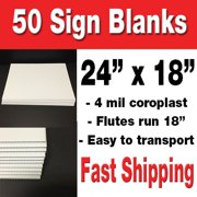 50 Pack of 18x24 Blank Corrugated Plastic Signs