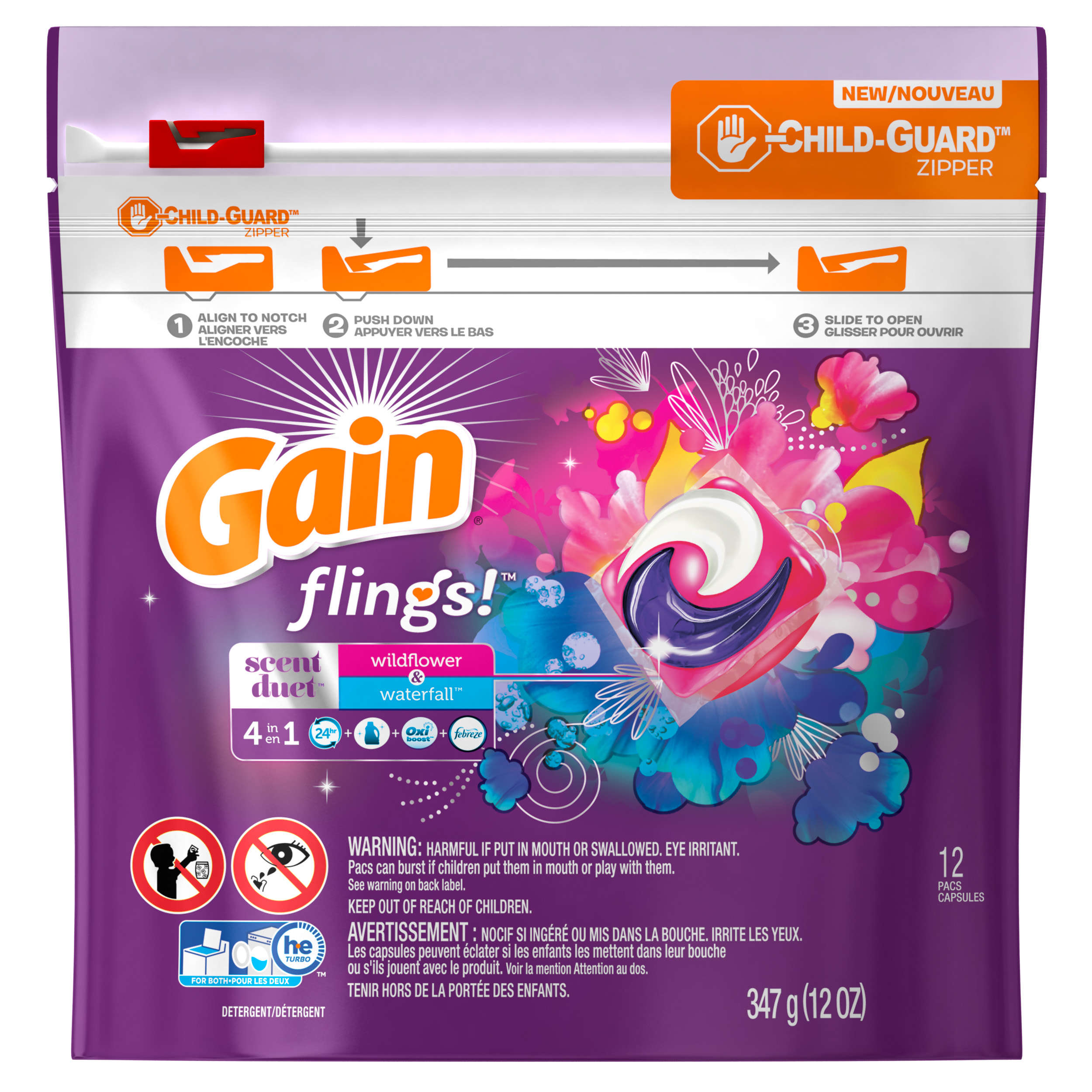 Gain flings! Scent Duets Laundry Detergent Pacs, Wildflower and Waterfall, 12 count