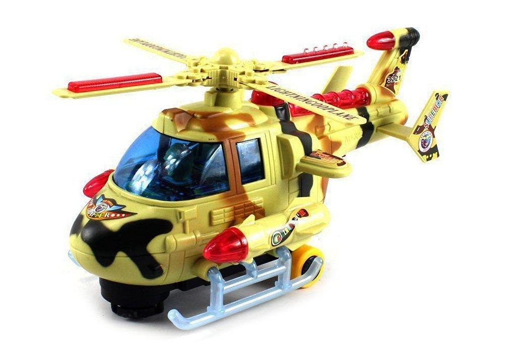 VT Turbo Hero Gunship Battery Operated Bump and Go Toy Helicopter w  Awesome Flashing... by Velocity Toys