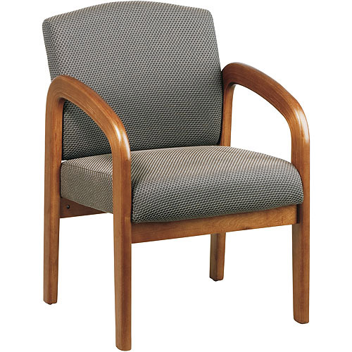 Office Star Products Work Smart Wooden Guest and Reception Chair with Arms, Medium Oak and Taupe