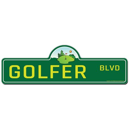 Golfer Street Sign | Indoor/Outdoor | Funny Home Decor for Garages, Living Rooms, Bedroom, Offices | SignMission personalized gift - Personalized Outdoor Signs