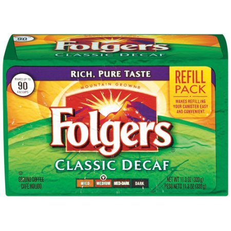 Folgers Classic Decaf Medium Ground Coffee Refill Pack, 11.3 oz