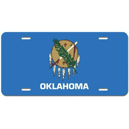 Oklahoma State Flag Novelty Metal Vanity License Tag Plate