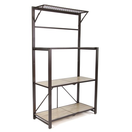 Origami Heavy Duty Durable Organizational Baker's Rack with Wood Shelf, Brown (Bakers Rack Three Shelves)