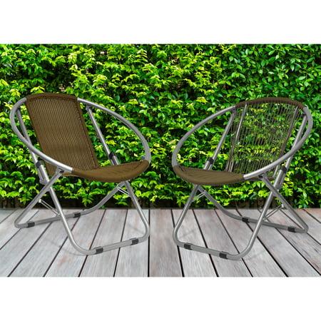 Garden Place Wicker Web Saucer Chair, Brown - Walmart.com