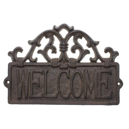 Comfify Welcome Sign for Door - Cast Iron Rustic Welcome Sign | Decorative Welcome Wall Plaque | Vintage Design | for Door, Entrance or Porch | Indoor or Outdoor Use | 9.25 X 6.25 (Rust Brown) Decorative Address Plaque