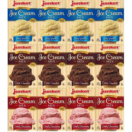 Junket Ice Cream Mix Dessert - 4 Vanilla, 4 Chocolate, 4 Strawberry (Variety Bundle of