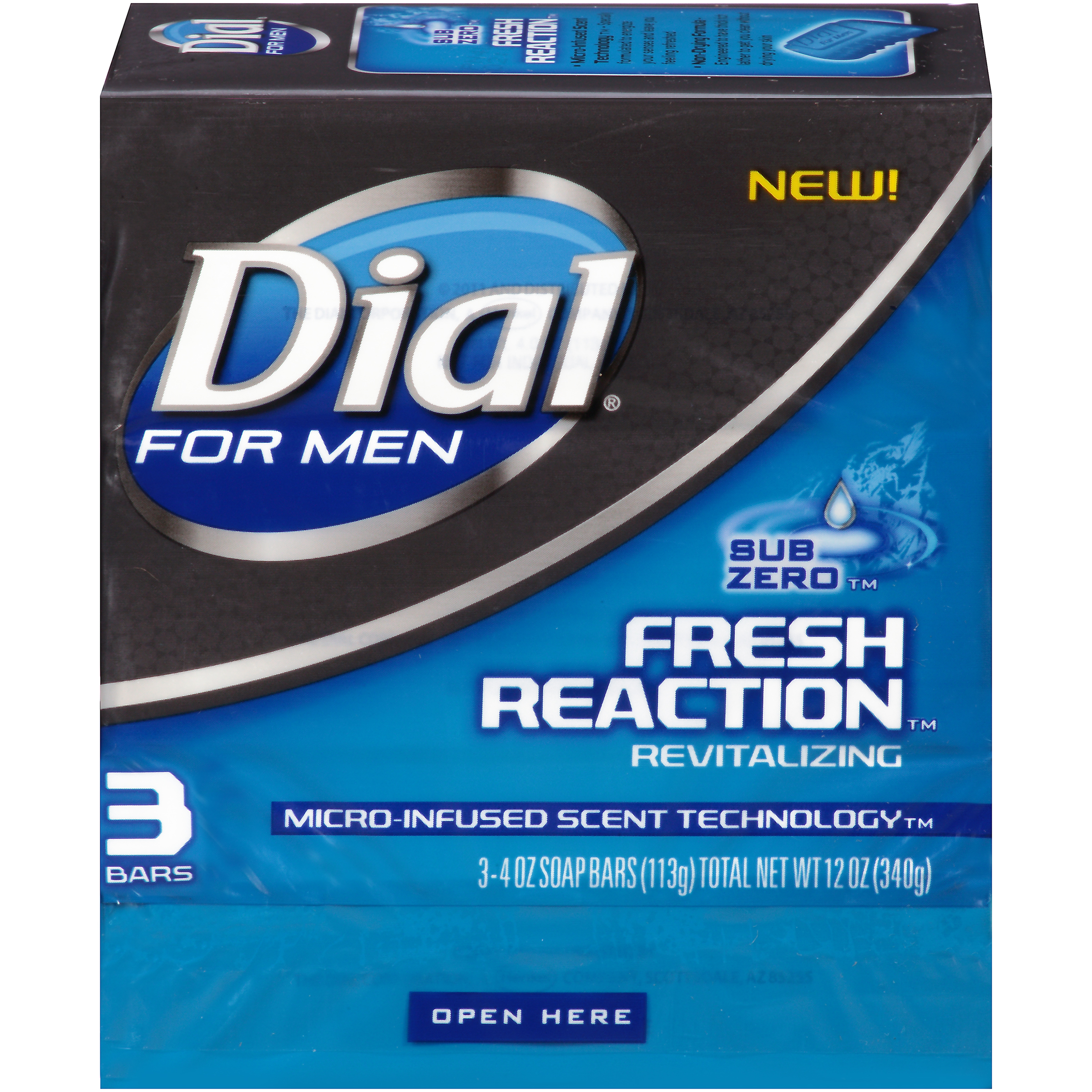 Dial for Men Glycerin Bar Soap, Fresh Reaction Sub Zero, 4 Ounce Bars, 3 Count