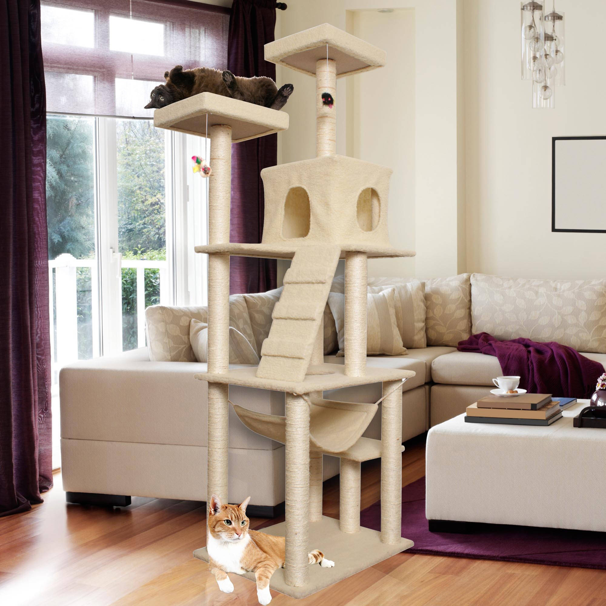 "Premium Cat Tree Tower Condo Scratch Furniture, 72"", Tan"