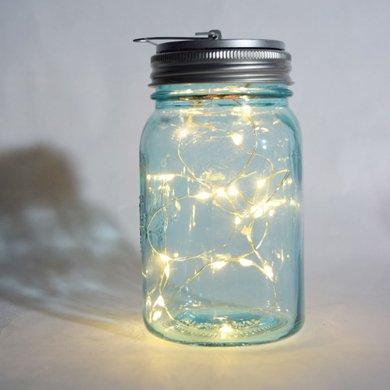 Fantado Wide Mouth Water Blue Mason Jar Light w/ Hanging Warm White Fairy LED Kit by PaperLanternStore (Battery Powered) ()