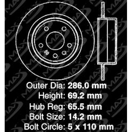 Max Brakes Rear Premium Brake Kit [ OE Series Rotors + Ceramic Pads ] KT162842 | Fits: 2008 08 Saab 9-5 w/Rear Solid Rotors - image 6 de 8