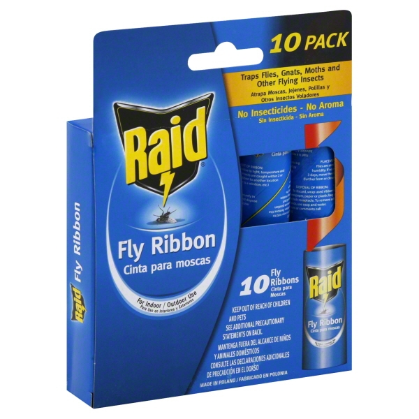 Raid Fly & Bug Catcher Ribbon, 10 count