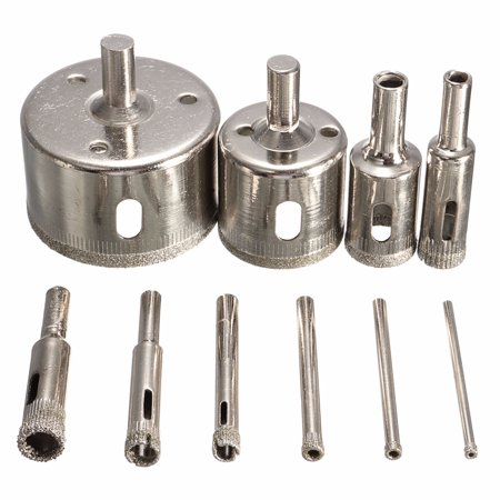 10Pcs Diamond Coated Core Hole Saw Drill Bit Set Hole Saw Cutter For Tile Ceramic Glass Marble, 3-50mm