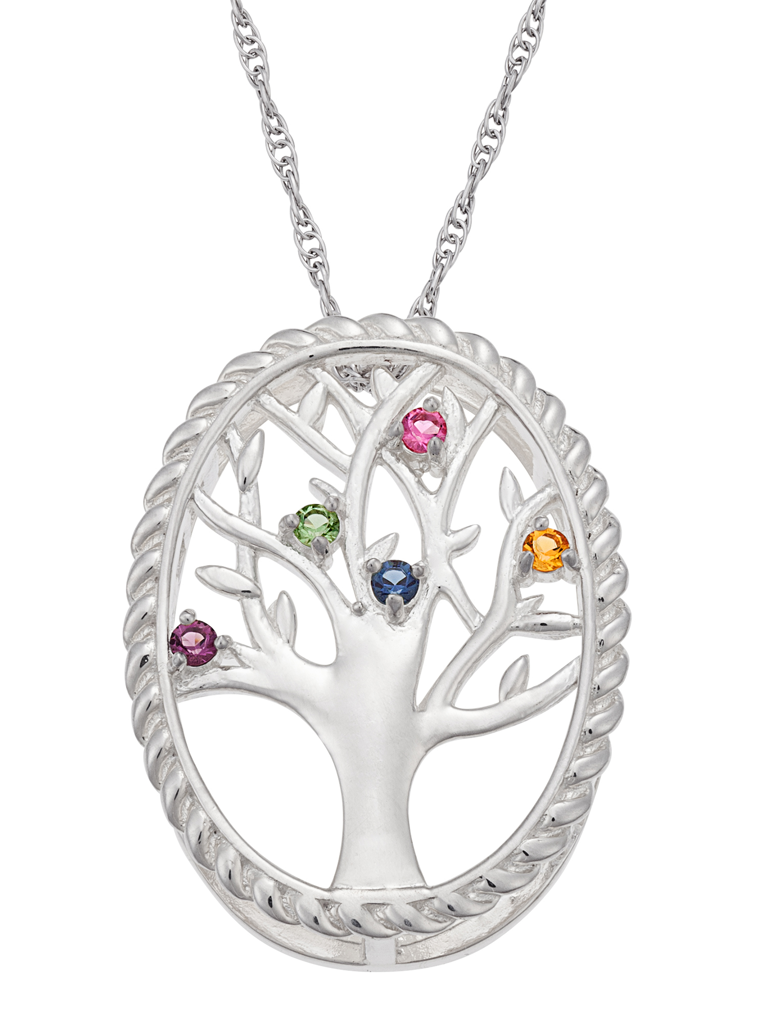 Personalized Sterling Silver or 14K Gold over Silver Family Birthstone Tree Necklace, 20""