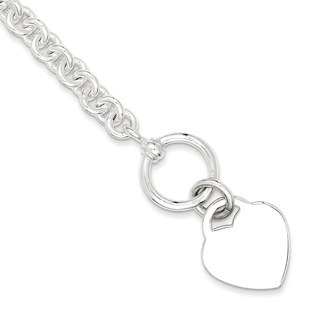Sterling Silver 8.75in Engraveable Heart Disc on Fancy Link Charm Bracelet