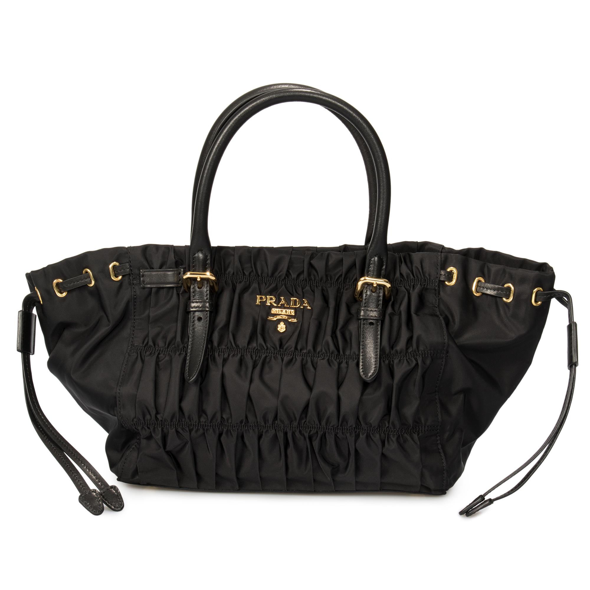 455e34186adeef ... usa prada gaufre fabric handbag in black 4a30f df421