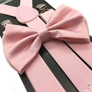Blush Wedding Pink Suspender and Bow Tie Set Wedding Prom Suspenders Adult Teens