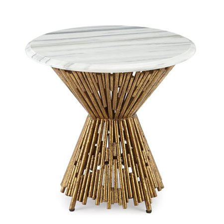 Git Mit Inc. Git Mit Home Multi Pipes Side/End Table with Marble Top Gold Leaf (Gläser Mit Gold Seiten)