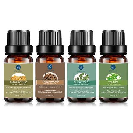 Premium Therapeutic Aromatherapy Oil Set (4x10ml) Natural Sandalwood,Frankincense,Eucalyptus,Tea Tree Essential Oils To Fight Cold And