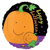 "Anagram Happy Halloween Smiling Pumpkins 21"" Foil Balloon, Orange Black Purple"