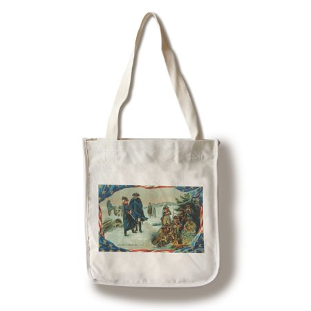 Valley Forge, Pennsylvania - Washington and Troops Braving Winter Scene (100% Cotton Tote Bag - Reusable)