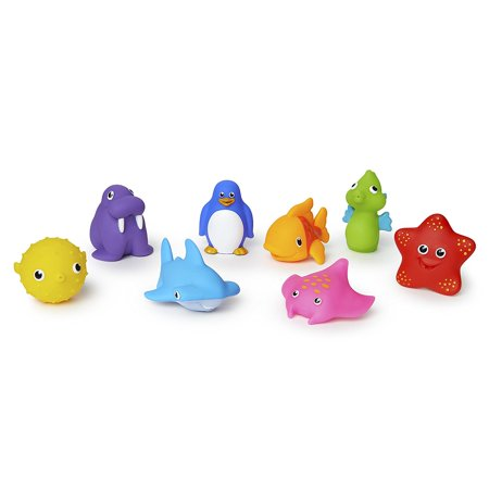 Ocean Squirts Bath Toy, 8 pack, Includes 8 water-squirting, floating ocean friends By Munchkin