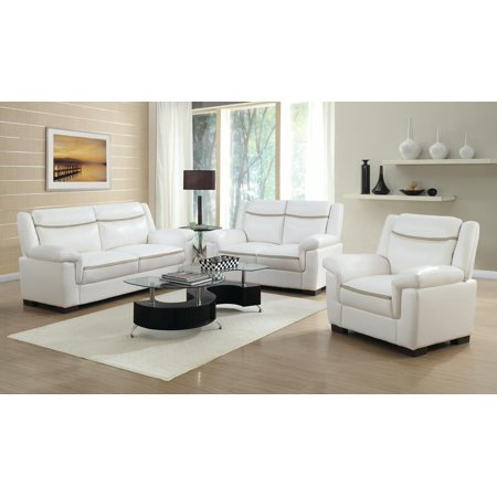Coaster 2-Piece Arabella Contemporary Sofa Set in White Finish 506594-S2
