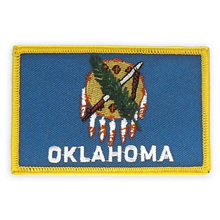 PinMart's Embroidered US State Flag Patch- Oklahoma Flag ()