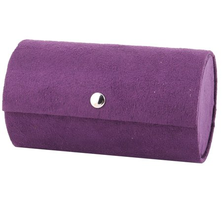 Fabric Jewelry - Home Travel Lady Flocked Fabric Round Design Ring Jewelry Box Organizer Purple