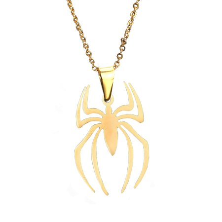 Goldplated Spider-Man Style Necklace Stainless Steel Pendant, Je-311-GP](Spiderman Jewelry)
