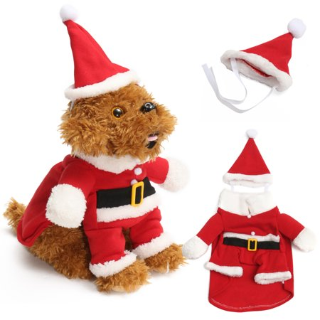 Pet Dog Puppy Christmas Clothes Apparel Santa Claus Costume Outfit with Hat Decoration