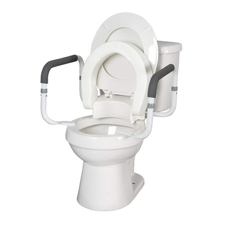 Hinged Elevated Raisedtoilet Seat With Saftey Arms