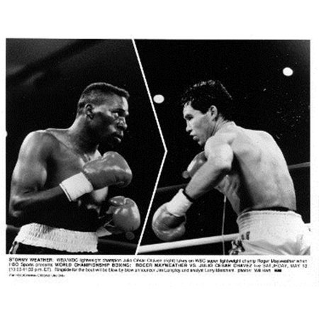 Athlon Sports CTBL-022186 Julio Cesar Chavez vs Roger Mayweather Unsigned HBO Promotional Fight B&W 8 x 10 Photo - May 13, (Julio Cesar Chavez Jr Vs Canelo Alvarez)