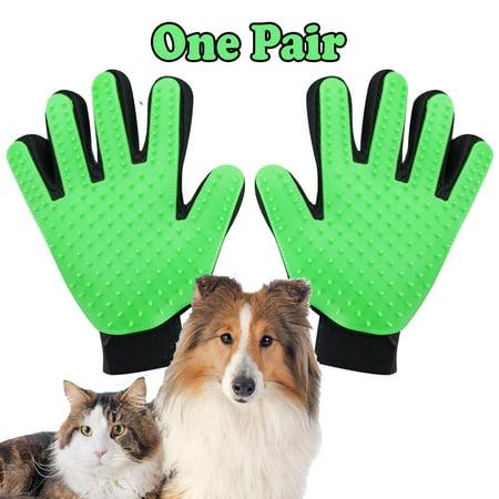 Pet Grooming Gloves Brush Dog Cat Hair Remover Mitt Massage Deshedding 1 Pair Green (Cat Grooming Mitt)