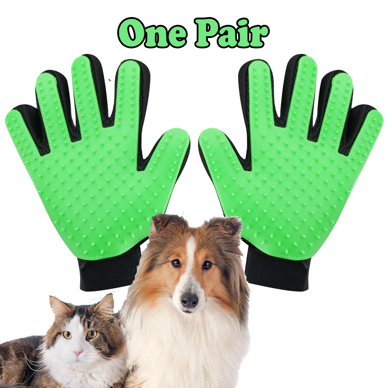 Pet Grooming Gloves Brush Dog Cat Hair Remover Mitt Massage Deshedding 1 Pair Green