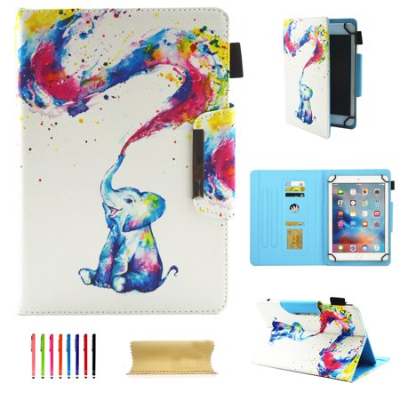 Allytech Universal Case for 9-10.1 Inch Tablet, PU Leather Smart Book Style Stand Protective Case with Card Slots Magnetic Closure Protector for All 9-10.1 Inch Tablet, Rainbow Elephant ()