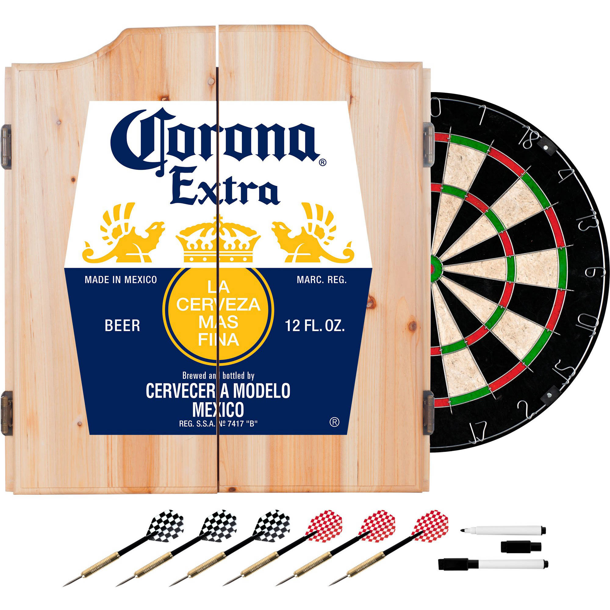 Corona Dart Board Set with Cabinet, Label