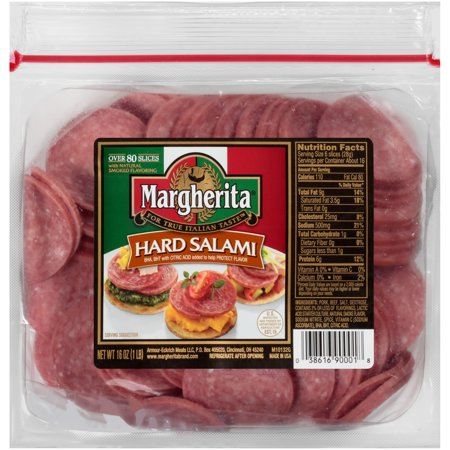 Margherita Sliced Hard Salami, 16 Oz
