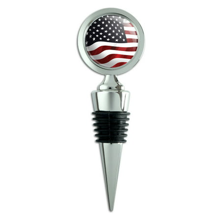 US American Flag Waving United States USA Wine Bottle Stopper (United States Sparkling Wine)