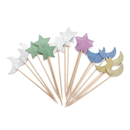 Halloween Cocktail Ideas ((Pack of 36) Aspire Colorful Stars Moon Rainbow Cupcake Topper Toothpicks, Cocktail Picks, Party Supplies, Halloween Christmas Party)