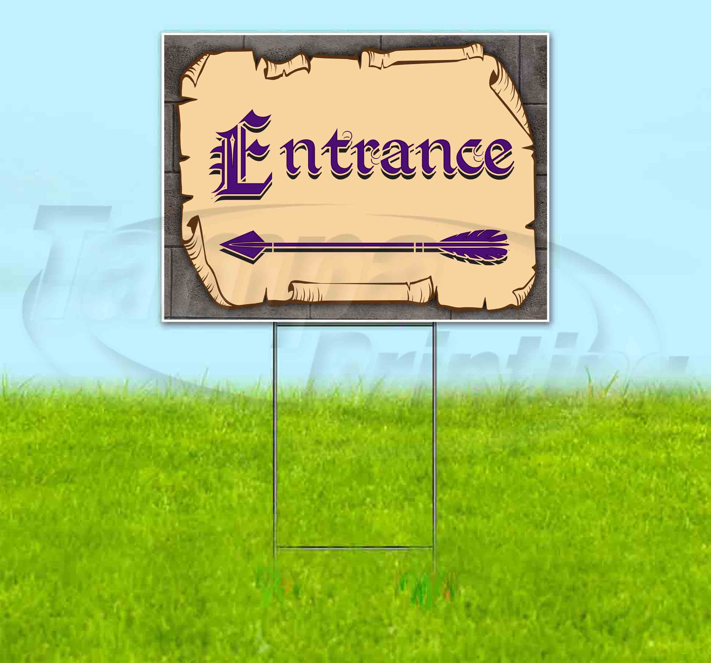 ENTRANCE LEFT ARROW Yard Sign Corrugated Plastic Bandit Lawn Decoration USA