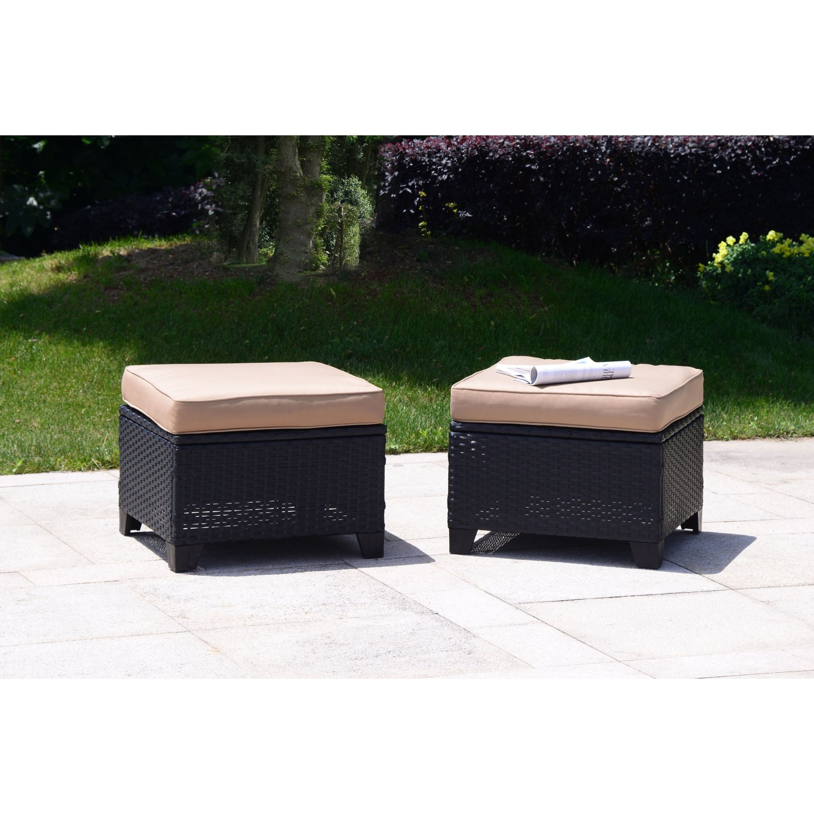 Cloud Mountain Wicker 3 Piece Patio Ottoman Conversation Set